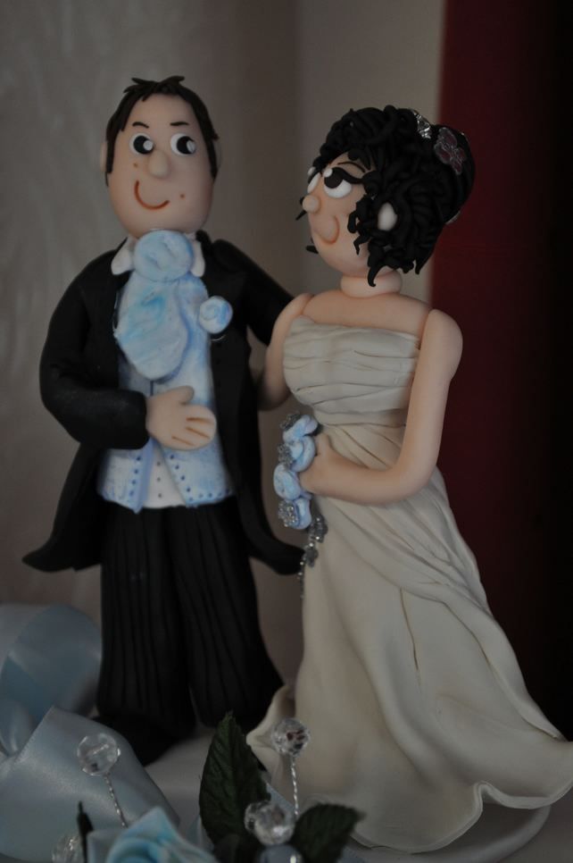 Handmade polymer clay bride and groom cake topper