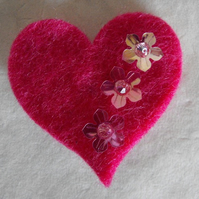 Heart & Swarovski Crystal Brooch with flowers