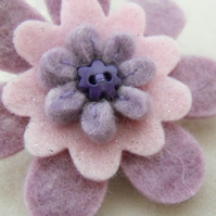 Lilac Big Daisy Felt Brooch
