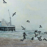 'Child's Play - Chasing seagulls' original artwork
