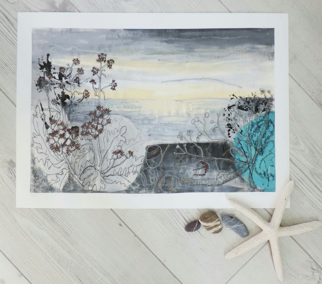 Embroidered Giclee Limited Print 'Winter Sea Mist'