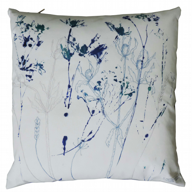 Hand Printed and Embroidered 46cm Cushion - Wild Flowers