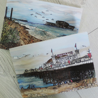 Set of 2 Greeting card - Brighton's scenes
