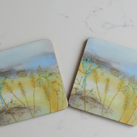 Artist Printed Coaster - Harvest Fields