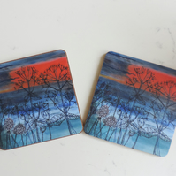 Artist Printed Coaster - Sunset Sea View
