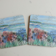 Artist Printed Coaster - Cliff View