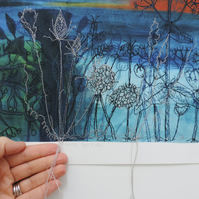 Embroidered Textile Print  'Sunset Sea View'