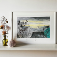 Embroidered Art Print 'Winter Sea Mist'
