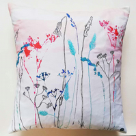 Printed and Embroidered Cushion 'Hedgerow'