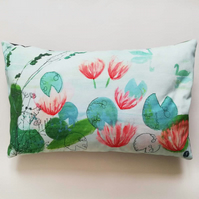 Printed and Embroidered Cushion 'Waterfront'
