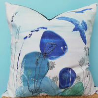 Printed and Embroidered Cushion 'Summer Pebble'