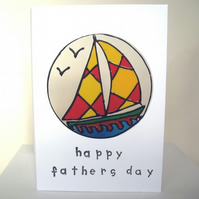 "Boat ""Happy Fathers Day"" card, FREE P&P"