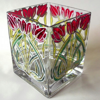 Tulip glass vase, FREE P&P (UK)