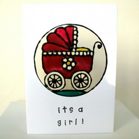 """It's a girl"" new baby card, FREE P&P"