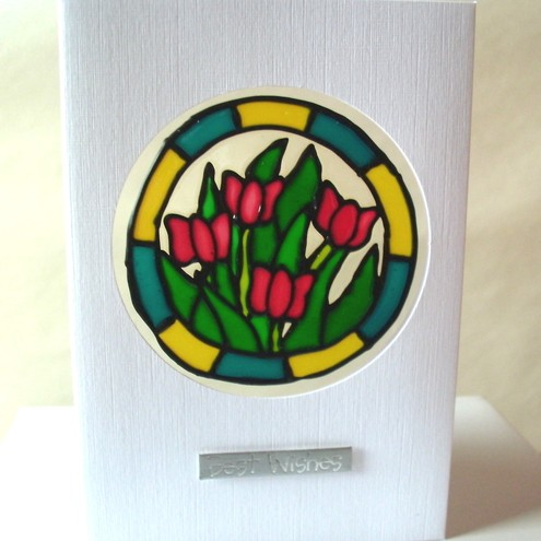 "Tulips ""Best Wishes"" greetings card"