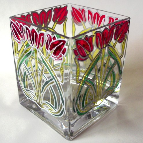 Tulip glass vase, hand painted