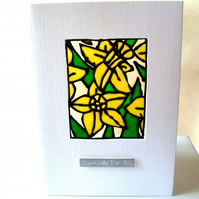 "Daffodil ""Especially for you"" greeting card"