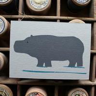 Hippo Note Cards. Six Animal Cards (A7) with Envelopes. Party Invite. Thank You.