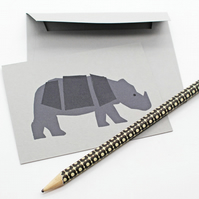 Rhino Note Cards. Set of 6 Animal Cards (A7) with Envelopes. Party Invite.Thanks