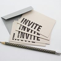 Letterpress Invite Note Cards. Set of 6. Perfect for a Party, Christmas, Holiday