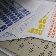 Colourful Recycled Card Letterpress Notelets. Set of 8. Hand Printed.
