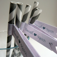 Wedding Favour Straws & Flags - personalised x 50