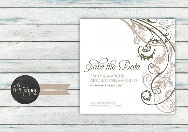 Save the Date Card - Digital Printable - Baroque Wedding Range