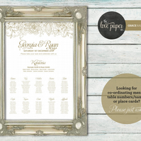 A2 Table Seating Plan Poster - Grace Wedding Range