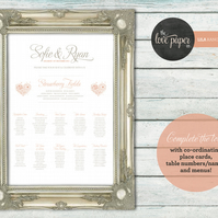 A2 Table Seating Plan Poster - Lila Wedding Range