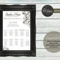 A2 Table Seating Plan Poster - Baroque Wedding Range