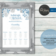 A2 Table Seating Plan Poster -  Eden Wedding Range