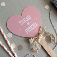 Small Wedding Program Fan - Heart Shape - Beau & Arrow - Order of Service