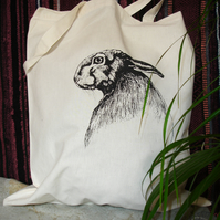 Screen Printed Hare 100% Natural Cotton Tote Bag