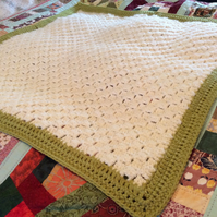 Basket-weave Look Crocheted Throw, reclaimed yarn