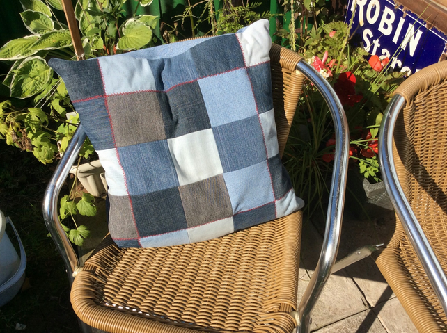 Recycled Denim Patchwork Cushion