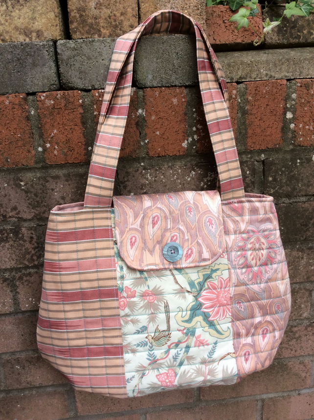 Paisley, Pink and Birdie bag, shopping bag, large tote