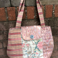 Large Quited Handbag, Upcycled Furnishing Fabric Shopper