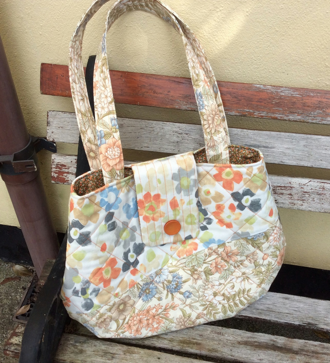 Large Handbag, Upcycled Upholstery Fabric Shopper