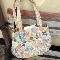 Large Quited Handbag, Upcycled Fabric Shopper
