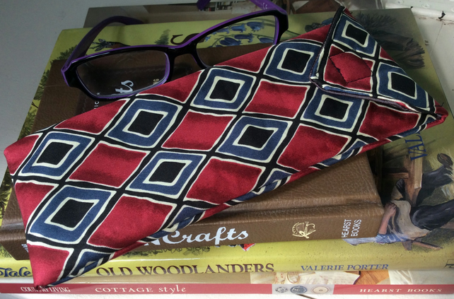 Upcycled Silk Tie Glasses Case, maroon
