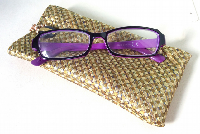 Upcycled Silk Tie Glasses Case, Gold, Woven-look