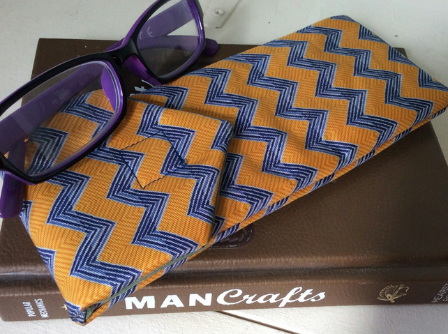 Upcycled Silk Tie Glasses Case, yellow zig-zag design