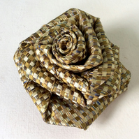 Upcycled Silk tie rose brooch