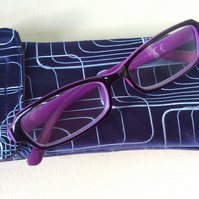 Upcycled Silk Tie Glasses Case, blue