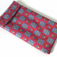 Upcycled Silk Tie Glasses or Phone  Case, Maroon