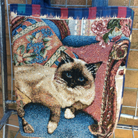 Upcycled Market Tote - Siamese Cat on a Sofa