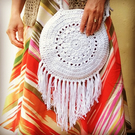 Cotton, crocheted, boho circular bag