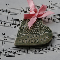 Ceramic heart mothers day gift card in gift box. Happy Mothers day
