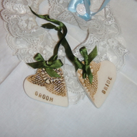 Ceramic bride and groom gift or placecards