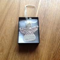 Ceramic Christmas angel tree decorations personalised with names